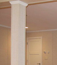 Easy Wrap column sleeves in Newton basement