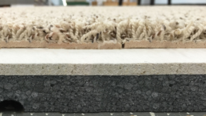 Closeup of Pro Comfort Basement Carpeting & ThermalDry® Insulated Decking