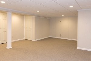 A complete finished basement system in a Pawtucket home