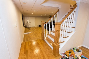Finishing touches for a remodeled basement in Brookline