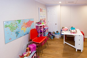 Children's playroom installed in a Quincy basement